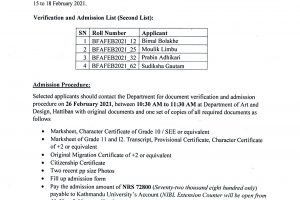 Selected Applicants for Admission Second List copy